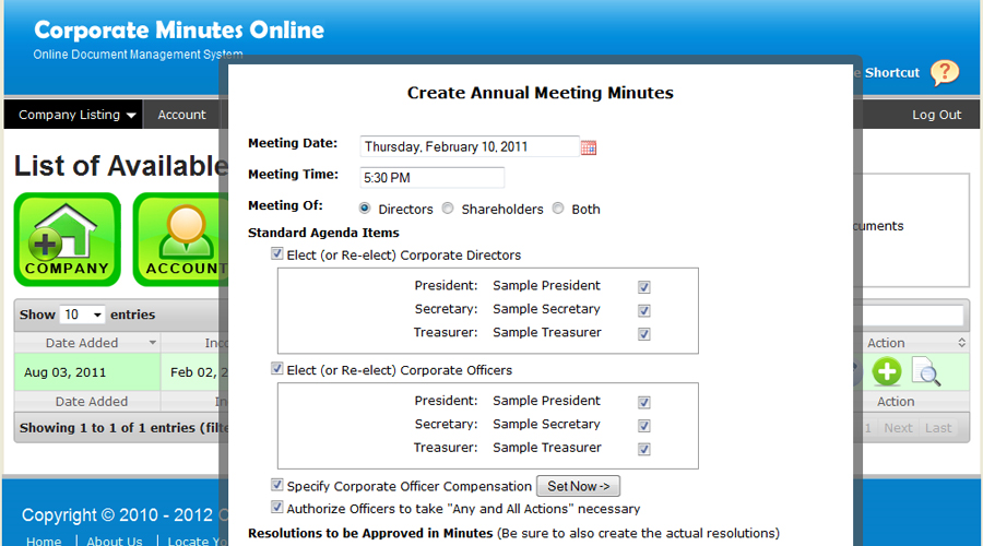 Corporate Minutes Online  Demo