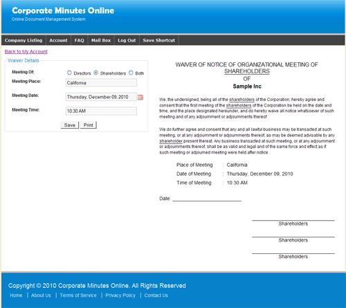 corporation minutes sample